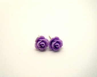 Purple rose earrings - Rose Studs - Flower earrings