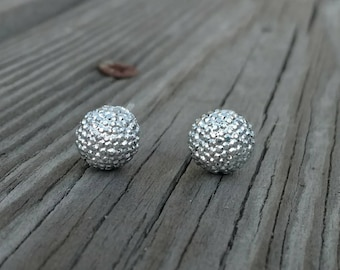 Pave ball earrings, Silver studs,  disco ball earrings, Plastic post earrings, Silver rhinestone studs, ball studs, ball earrings