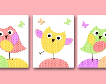 Owl Decor Owl Nursery Baby Nursery Print Baby Girl Nursery Decor Printable Print Digital Download Print set of 3 8x10 11X14 INSTANT DOWNLOAD