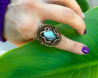 Abalone oval ocean ring