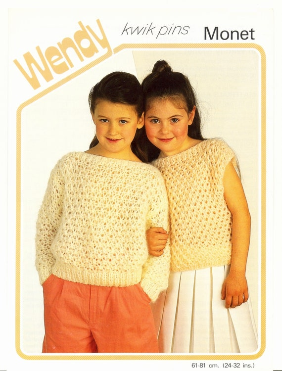 Girls Lacy Sleeveless And Long Sleeved Sweaters Wendy Kwik Pins