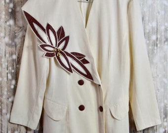BL_009) Vintage 80 's Cream long blazer