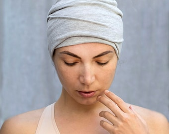 Heather Gray Headband  Bohemian Head Scarf  Hair Wrap Wide Yoga Headband Boho Head Wrap
