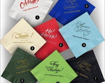 50 Personalized Colorful Party Napkins - Holiday Napkins - 5121