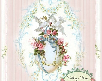 Vintage EASTER EGG Doves pink roses Large digital download ECS buy 3 get one free romantic cottage single image svfteam