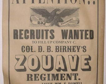 Set of 5 Union Civil War Recruiting Posters, Sharp-Shooters, Michigan, New Jersey, Navy, Zouave