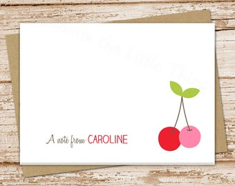 personalized cherry stationery . cherries note cards . stationary . folded cards . notecards . summer fruit . blank cards . set of 8
