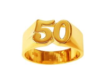 Lee087-10k Gold 9mm Two Number Plain Finished Ring
