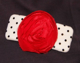 Ivory and Black Dot Barrette with a Red Center Flower