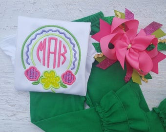 St. Patricks day shirt, Sample Sale, girls shirt, shamrock shirt, embroidery, personalizable, custom shirt, matching hairbow, baby's first