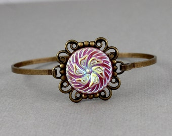 Pink Pinwheel  - vintage 1950's glass button bangle bracelet, repurposed, up cycled jewelry