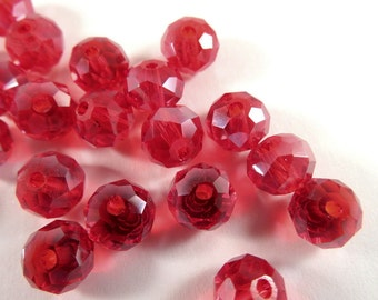 36 Red Glass Bead Faceted Rondelle Abacus 8x6mm - 36 pc - G6021-R36