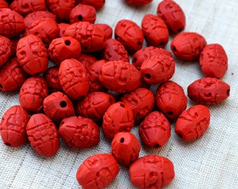 20pcs 14x10mm Carved Cinnabar beads Rice Oval
