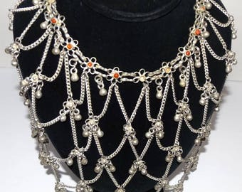 Belly Dancing Bib Collar Necklace Vintage Exotic Tribal Statement Necklace