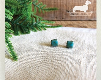 DOLLAR DEAL! Seafoam Squares. Post Earrings -- (Vintage-Style, Blue, Turquoise, Mint, Square, Simple, Small, Mini, Shabby Chic, Geometric)