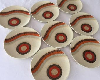 Mikasa Mid Century Salad Plates/Indian Feast Rising Sun/Stoneware Plate/ Rising Sun / Total of NINE / MIKASA Plates By Gatormom13