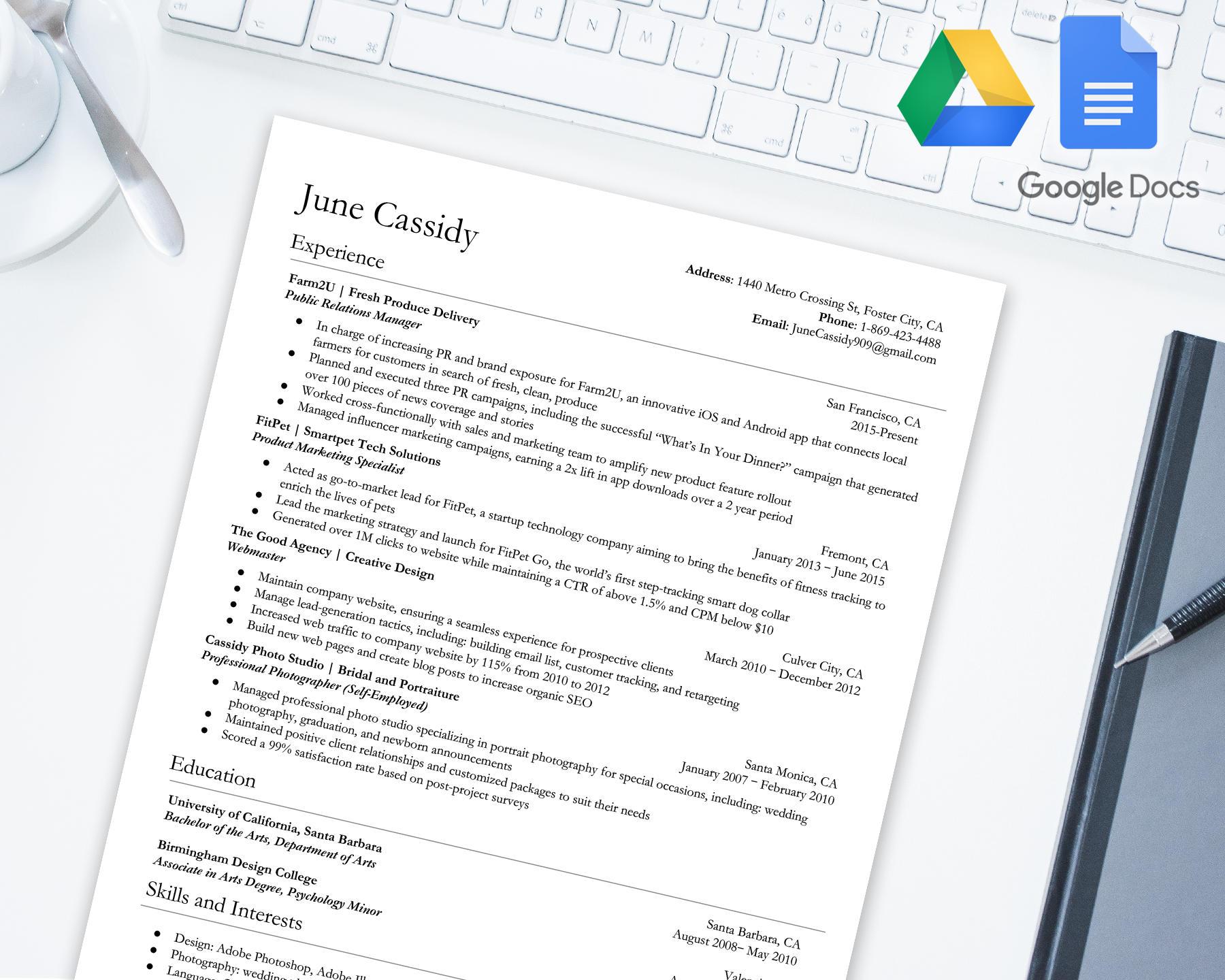 Lebenslauf Vorlage für Google Docs ausgezeichnet Google
