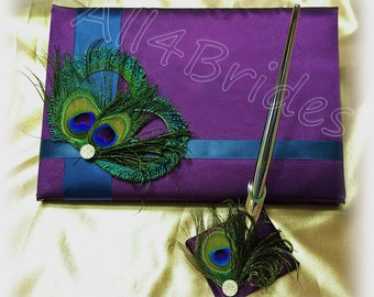 Purple and Teal peacock wedding guest book and pen set, peacock feather weddings decorations