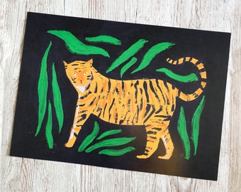 Cute Illustrated Gouache Tiger A3 Art Print