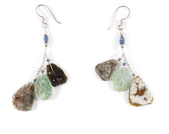 Ancient Roman Glass Earrings Beads Bowl Fragments Afghanistan 119018