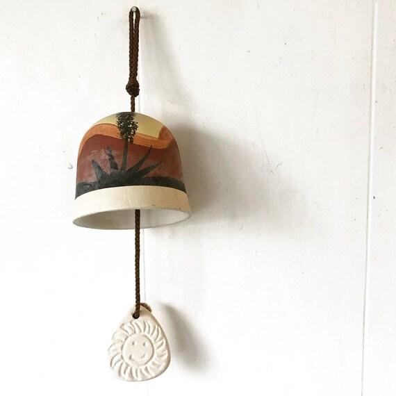 vintage ceramic bell - Southwestern pottery chime - desert cactus - boho garden decor
