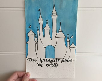 Cinderella Castle Lettering and Watercolor Piece