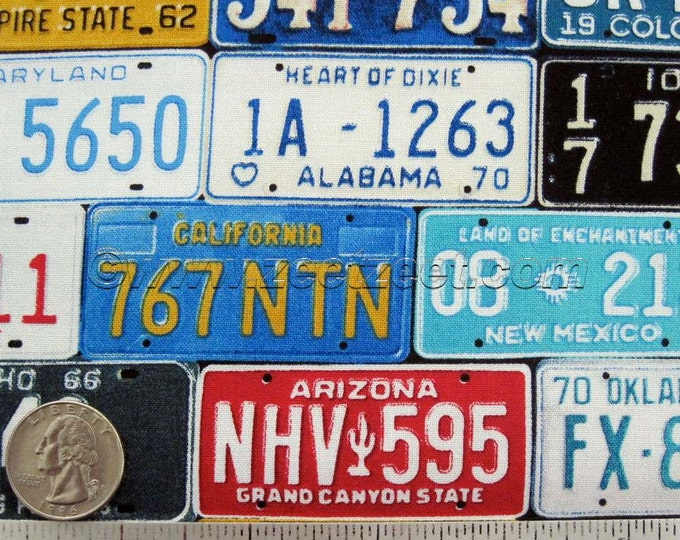 LICENSE PLATES Multi Blue White Red Yellow - Cotton Quilt Fabric by the Yard - Timeless Treasures