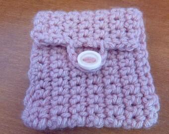 Tiny Pink Pouch, Crochet, Yarn Tote, Sugar Packs, Tea Bags, Case, Envelope, Coins, Money, Hidden, Secret, Keep it Clean, Pantyliner, Meds