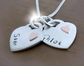 Copper Anniversary Gift, 7th Seventh Wedding Anniversary, Personalised Hearts Necklace, Silver and Copper Heart Necklace with Names,