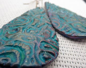 Aramice. Turquoise Green Blue. Polymer Clay Art Bead. Texture Tear Drop Dangle Earrings