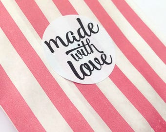Made with love stickers, handmade stickers, Made with love labels, packaging stickers, packaging labels, 142