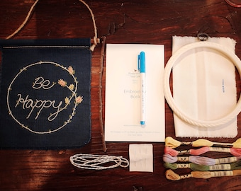 Be happy garland full kit - embroidery full kit - embroidery set - embroidery pattern