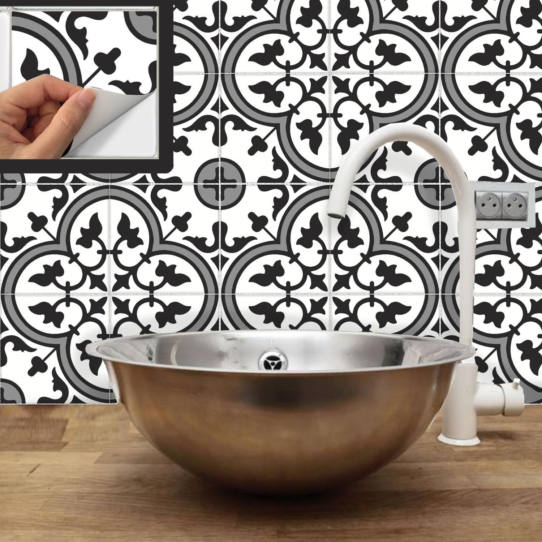 Fliesenaufkleber für Küche Aufkantung Boden Bad abnehmbar