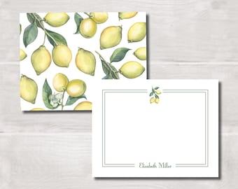 Flat Note Cards, Watercolor Lemons