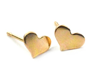 Tiny Hammered Heart Earring, Heart Stud Earrings, Valentines Day Gift