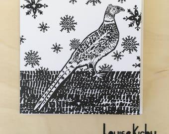 Pheasant in the snow greetings card / Christmas Card / Animal Art / Festive Card / Pheasant Card / Illustrated Card / Blank Card / Festive