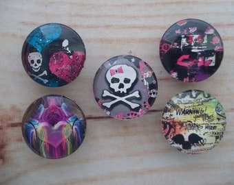 Girly Girl Fridge Magnets, Glass Kitchen Magnets, Set of 5, Kitchen Decor, Hostess Gift, Housewarming Gift, Office Decor, Locker Magnet