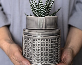 Ceramic Planter, Gray Succulent Planter, Modern Ceramic Plant Pot, Cactus  Planter Pot,