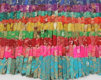 Sea Sediment Jasper Points Slice Beads, Long Stone Stick Beads, Natural Stone Beads For Jewelry Making 20-55mm 49pcs
