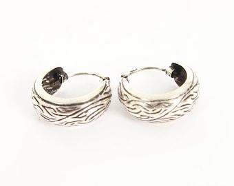 Sterling Silver Small Oxidised Earrings