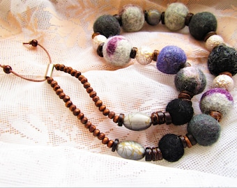 Felted Necklace Grey necklace Necklace with felted balls Grey beads Grey jewelery Boho jewelery Felt beads necklace Rainbow necklace balls