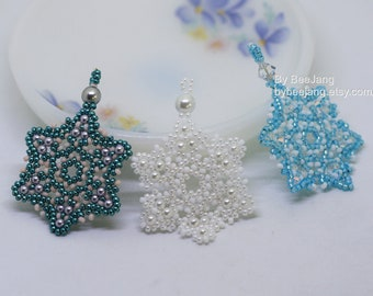 PDF Tutorial - Snowflake Pendant Earrings Beading  Instruction Instant download Beadweaving Pattern