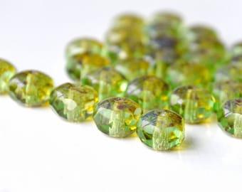 green picasso beads, green glass beads, Czech glass beads, picasso beads, 9x6mm beads, rondelle beads, glass beads, czech beads (44-7)