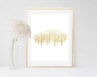 Tree Print, Printable art, Gold Trees, Scandinavian Print,  Gold Wall Art, Instant Download, Wall Decor