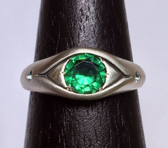 Sterling Silver, Green Spinel and Blue Zircon Eye Ring
