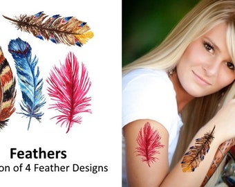 Feathers Temporary Tattoos