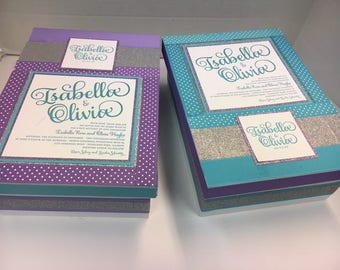 Twin Bar/ Bat Mitzvah - Special Birthday Keepsake Boxes with your invitations