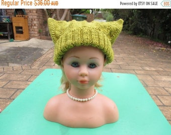 ON SALE Hand Knitted Green -  Cossack Hat for Baby up to 12 months