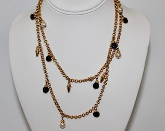 Vintage Swarovski Crystal Faux Pearl Gold Tone Chain Necklace