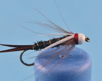 3-pack White Head Prince Nymph, size 8 Prince Nymph, Tungsten Prince Nymph, fly fishing flies, bead head nymph, Tungsten nymph, Trout flies